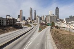 Downtown Atlanta Empty Highway Stock Photo