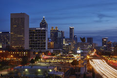 Downtown Atlanta, Georgia. Twilight view of the downtown Atlanta, Georgia skyline and the I-75/I-85 downtown connector Royalty Free Stock Images