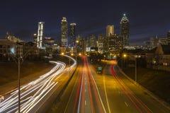 Downtown Atlanta Night Highway Skyline. Atlanta. Georgia, USA - February 23, 2014: Night cityscape skyline and highway traffic view of urban Atlanta royalty free stock images