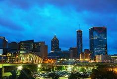 Downtown Atlanta at night time stock photos