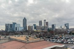 Downtown Atlanta Skyline showing several prominent buildings and hotels. Under a cloudy sky royalty free stock photo