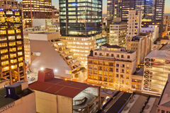 Downtown Auckland New Zealand city lights at night Royalty Free Stock Images