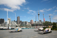 Downtown Auckland and Viaduct Harbour. Summertime afternoon in Auckland City, a classic antipodean view, New Zealand Stock Photo