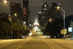 Downtown Austin at night. Night view of Downtown and the State Capitol building from Congress Ave in Austin Texas Stock Photography