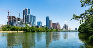 Downtown Austin Skyline. Austin, TX USA - April 14, 2016: Skyline view of downtown Austin from the Colorado River with new construction along Cesar Chavez Street Stock Photos
