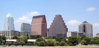 Downtown Austin, Texas. A very pretty day in Austin, Texas.  This shot was taken from across Town Lake downtown.  A very useful image for Austin related content Royalty Free Stock Image