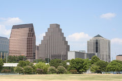 Downtown Austin, Texas. A very pretty day in Austin, Texas.  This shot was taken from across Town Lake downtown.  A very useful image for Austin related content Royalty Free Stock Images