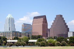 Downtown Austin, Texas. A very pretty day in Austin, Texas.  This shot was taken from across Town Lake downtown.  A very useful image for Austin related content Stock Images