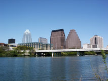 Downtown Austin, Texas. A very pretty day in Austin, Texas.  This shot was taken from across Town Lake downtown.  A very useful image for Austin related content Stock Photography