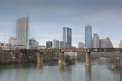 Downtown Austin Texas and Lady Bird Lake stock photography