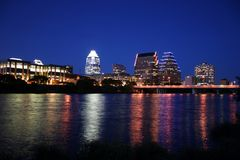 Downtown Austin, Texas at Night. A very pretty night in Austin, Texas.  This shot was taken from across Town Lake downtown.  A very useful image for Austin Royalty Free Stock Photos