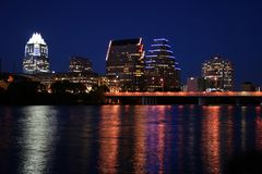 Downtown Austin, Texas at Night. A very pretty night in Austin, Texas.  This shot was taken from across Town Lake downtown.  A very useful image for Austin Royalty Free Stock Images