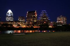 Downtown Austin, Texas at Night. A very pretty night in Austin, Texas.  This shot was taken from across Town Lake downtown.  A very useful image for Austin Stock Photo