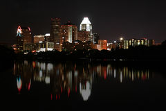 Downtown Austin, Texas at Night. A very pretty night in Austin, Texas.  This shot was taken from across Town Lake downtown.  A very useful image for Austin Stock Image