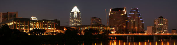 Downtown Austin, Texas at Night Royalty Free Stock Photos