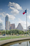 Downtown Austin Texas skyline. Texas flag and modern buildings in the background in Austin, Texas Royalty Free Stock Photography