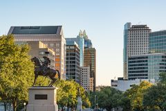 Downtown Austin, Texas. AUSTIN, TX - OCTOBER 28, 2017: Statue and skyline of downtown Austin, Texas Stock Photography