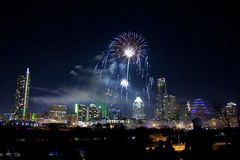 Downtown Austin, Tx Fireworks. For new years Stock Image