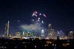 Downtown Austin, Tx Fireworks Stock Photography