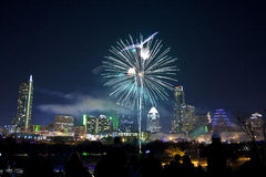 Downtown Austin, Tx Fireworks. For new years Royalty Free Stock Photos