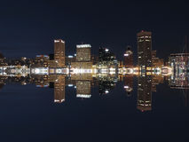 Downtown Baltimore Maryland Night Skyline Reflection royalty free stock photos
