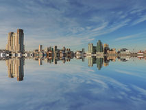 Downtown Baltimore Maryland Skyline Reflection Stock Image