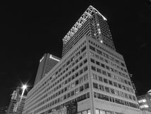 Downtown Baltimore at Night Black and White royalty free stock photo