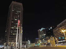 Downtown Baltimore Skyline at Night. The Downtown Baltimore, Maryland Skyline with the World Trade Center in the foreground stock images
