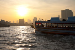 Downtown Bangkok Chao Phraya River Boat Royalty Free Stock Photo