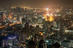 Downtown Bangkok at night. View of downtown Bangkok at night with light and buildings Stock Images
