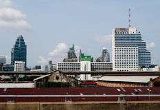 Downtown Bangkok seen from a passenger car Royalty Free Stock Photography