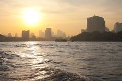Downtown Bangkok Skyline Sunrise Chao Phraya Stock Images