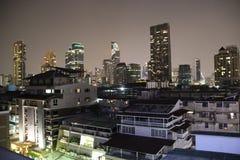 downtown Bangkok stadssikt vid natt arkivfoto