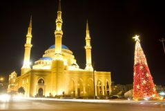 Downtown Beirut at Christmas stock photography