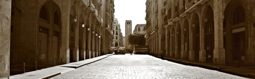 Downtown Beirut Panorama in Sepia Stock Images