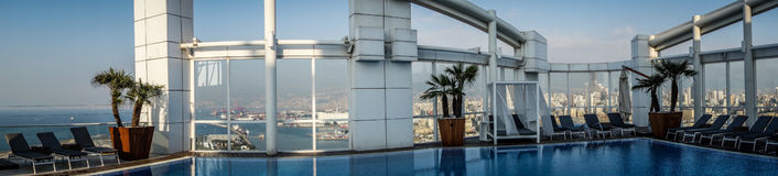 Downtown Beirut from rooftop pool Royalty Free Stock Photos