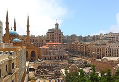 Downtown Beirut skyline, Lebanon stock photos