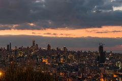 Downtown Beirut under the beautiful sunset stock photography