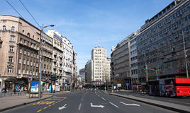 Downtown of Belgrade. Landscape Terazije square, downtown of Belgrade with palace Albania Royalty Free Stock Photo