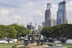 Downtown Benjamin Franklin Parkway from Philadelphia in Pennsylvania USA Royalty Free Stock Photo