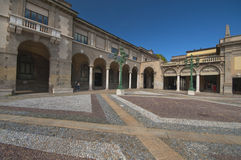 At the Downtown of Bergamo. Walking along the streets of the downtown of Bergamo Royalty Free Stock Photo