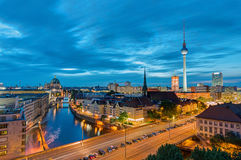 Downtown Berlin with the famous Television Tower. At night Royalty Free Stock Photo