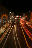 Downtown Blur. City strees with lights of cars blurred by movement royalty free stock photo