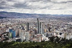Downtown Bogotá seen from Monserrate Trail Royalty Free Stock Images