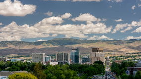 Downtown Boise Idaho time lapse with summer trees and clouds. Skyline of Boise Idaho with drifting clouds and shadows stock footage