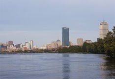 Downtown Boston from Charles River Royalty Free Stock Photos