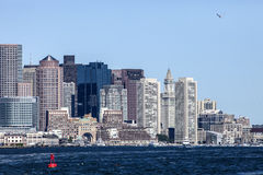 Downtown Boston. The city of Boston Massachusetts viewed from the inner harbor Royalty Free Stock Image