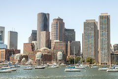 Downtown Boston. The city of Boston Massachusetts viewed from the inner harbor Stock Photos