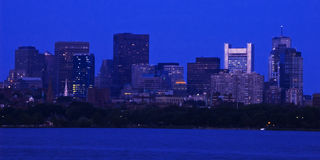 Downtown Boston At Dusk. A view of downtown Boston from the Charles River at dusk Stock Photography