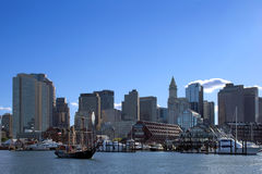 Downtown Boston Harbor Cityscape in Massachusetts Stock Images